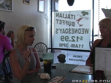 Abby Rode - Two Cock Hungry MILFS dining...